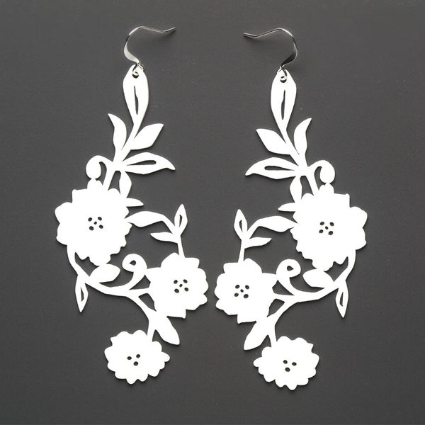 Flowery Earrings White Silicone Jewelry