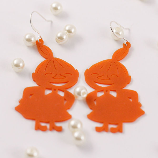 Little My earrings, orange