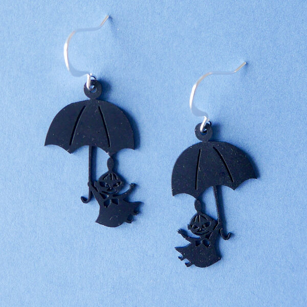 Little My and Umbrella - earrings, Black