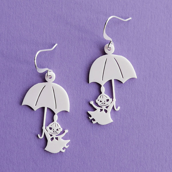 Little My and Umbrella - earrings, White