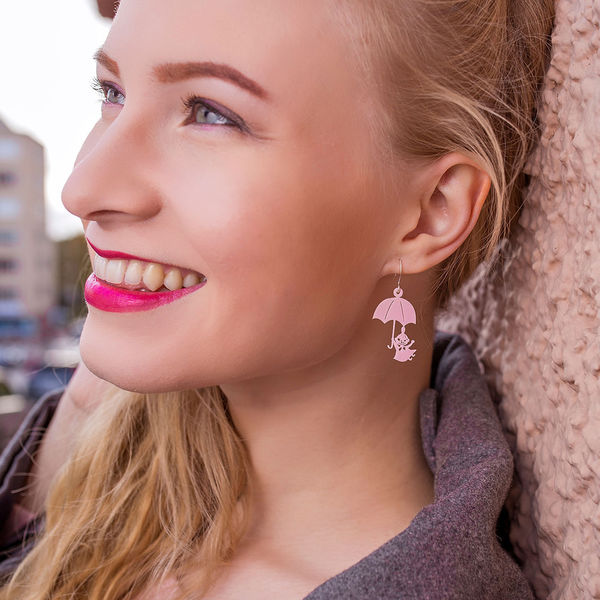 Little My and Umbrella - earrings, Light Pink